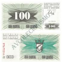 Cédula - Bósnia - Km013 - 100 Dinara - 1992 - FE