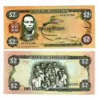 Cédula - Jamaica - Km069e - 2 dólares -1993 - FE