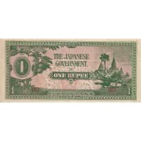 Cédula - BURMA - Ocupação Japonesa - Km014b - 1 Rupia - 1942 - Excelente estado