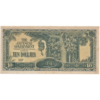 Cédula - MALASIA - Ocupação Japonesa - Km-M07c - 10 Dólares - 1942-44 - Excelente estado