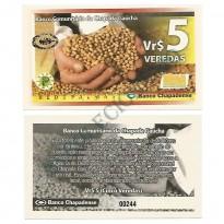 MSB030 - Moeda Social - Veredas - Vr$ 5,00 - 1ª Tiragem - B. Chapadense - Chapada Gaúcha - MG - FE