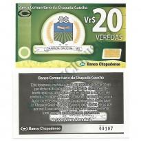 MSB032 - Moeda Social - Veredas - Vr$ 20,00 - B. Chapadense - Chapada Gaúcha - MG - FE