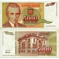 Cédula - Yugoslavia - Km121 - 5000 Dinara - 1993