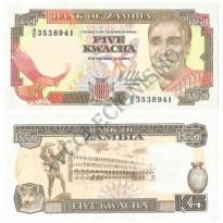 Cédula - Zambia - Km030 - 5 Kwacha - 1989 - FE