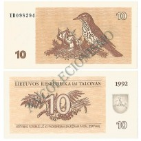 Cédula - Lituania - Km040 - 10 Talonas - 1992