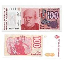 Cédula - Argentina - Km327c  - 100 Austrais - 1985-90 - FE