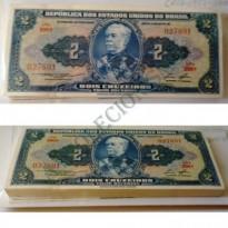 Lote de 100 Cédulas Sequenciais de 2 Cruzeiros - C016 - Brasil - 1958 - FE