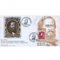 FDC398 - 75 anos da Sociedade Filatélica Brasileira - 120 anos da Emissão D. Pedro II - Barba Preta - 1986