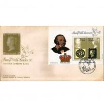 FDC500 - 150 Anos do Primeiro Selo Postal - Bloco - 1990