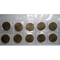 Lote com 10 Moedas - 2 Cruzeiros - 1955 - Bronze/Alumino - FC - MVM236