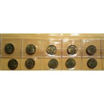 Lote com 10 Moedas - 10 Centavos - 1955 - Bronze/Alumino - FC - MVM205