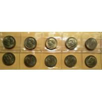 Lote com 10 Moedas - 50 Centavos - 1956 - Bronze/Alumino - FC - MVM223