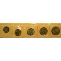 Lote com Serie completa com 5 Moedas - 10-20-50 Centavos e 1 e 2 Cruzeiros - 1955 - Bronze/Alumino - FC