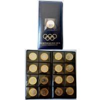 Álbum com as 16 Moedas Olímpicas - Rio 2016 + Moeda da Bandeira Olimpica