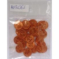 Lote com 25 moedas de 1 centavo - Brasil - 2004 - FC