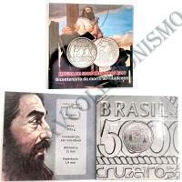 Folder com moeda de 5000 Cruzeiros - Tiradentes - 1992