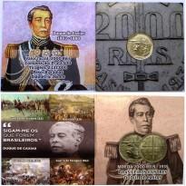 Folder com moeda de 2000 Reis  - Prata - Brasileiros Ilustres - Duque de Caxias - 1935