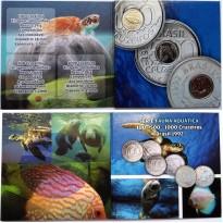 Fôlder com série Fauna Aquática - Peixe Boi - Tartaruga - Acara - Aço - 1992
