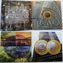Fôlder com moeda de 1 Real - 40 Anos do Banco Central do Brasil - 2005