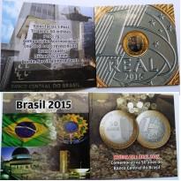 Fôlder com moeda de 1 Real - 50 Anos do Banco Central do Brasil - 2015