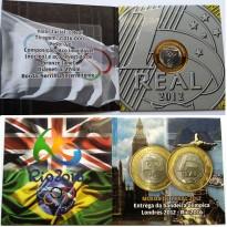 Fôlder com moeda de 1 Real - Entrega da Bandeira Olímpica - 2012
