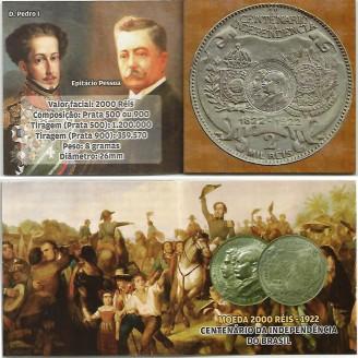 Fôlder com moeda de 2000 Reis  - Prata - Centenário da Independência - 1922