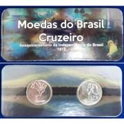 Fôlder com 2 moedas 1 Cruzeiro - Sesquicentenário da Independência do Brasil - 1972 - Brasil