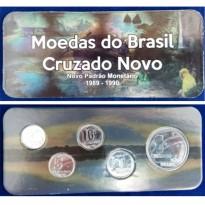 Fôlder com Serie de 5 Moedas do CRUZADO NOVO - Aço - 1989 - Brasil