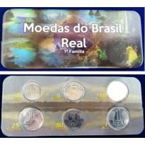 Fôlder com Serie de 6 Moedas da Primeira Família do Real - Aço - 1994 - Brasil