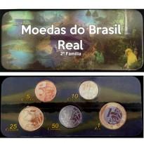 Fôlder com Serie de 5 Moedas da Segunda Família do Real - Vários Metais - 2018 - Brasil