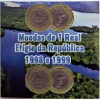 Folder com 2 Moedas de 1 Real - 1998 e 1999 - Brasil - Excelente Estado