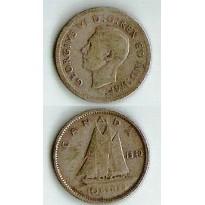 Moeda Canadá - Km034 - 10 Cents - Prata - 1940