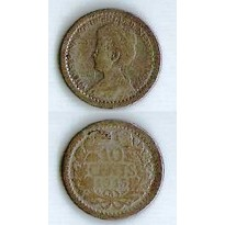 Moeda Holanda - Km145 - 10 Cents - 1915