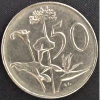 Moeda África do Sul - Km096 - 50 Cents - 1976 - FLORA - NI  - 27,8 mm - 9,5 Gr