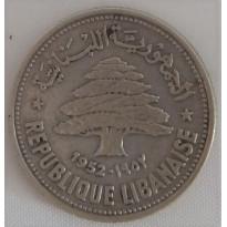 Moeda Líbano - Km017 - 50 Piastras - 1952 - Prata - 4,90 gr -  24,00 mm