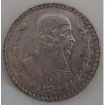 Moeda México - Km459 - 1 Peso - 1961 - Prata - 16,00 Gr - 34,50 mm