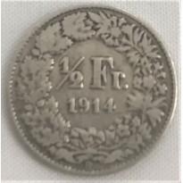 Moeda Suíça - Km023 - 1/2 Franco - 1914 - Prata - 2,50 Gr - 18,20 mm - Ótima Peça