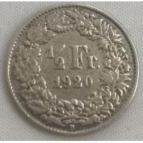 Moeda Suíça - Km023 - 1/2 Franco - 1920 - Prata - 2,50 Gr - 18,20 mm - Otima Peça