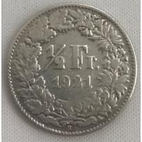 Moeda Suíça - Km023 - 1/2 Franco - 1921 - Prata - 2,50 Gr - 18,20 mm - Otima Peça