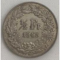 Moeda Suíça - Km023 - 1/2 Franco - 1945 - Prata - 2,50 Gr - 18,20 mm - Excelente Peça