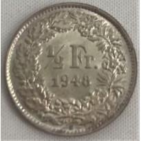 Moeda Suíça - Km023 - 1/2 Franco - 1948 - Prata - 2,50 Gr - 18,20 mm - Excelente Peça