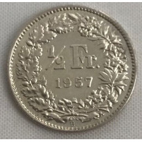Moeda Suíça - Km023 - 1/2 Franco - 1957 - Prata - 2,50 Gr - 18,20 mm - Excepcional Peça - UNC