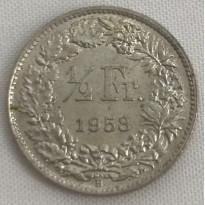 Moeda Suíça - Km023 - 1/2 Franco - 1958 - Prata - 2,50 Gr - 18,20 mm - Excepcional Peça - UNC