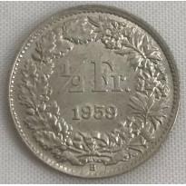Moeda Suíça - Km023 - 1/2 Franco - 1959 - Prata - 2,50 Gr - 18,20 mm - Excepcional Peça - UNC