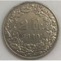 Moeda Suíça - Km021 - 2 Francos - 1920 - Prata - 10,00 Gr - 27,40 mm - Ótima Peça