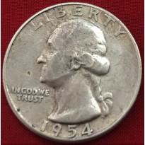 Moeda Estados Unidos da América - Km164 - Quarter Dólar - 1954 - Prata - 6,25 Gr - 24,30 mm - Excelente Peça