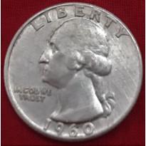 Moeda Estados Unidos da América - Km164 - Quarter Dólar - 1960 - Prata - 6,25 Gr - 24,30 mm - Excelente Peça