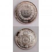MPR 573 - Moeda 200 réis - Prata - 1855 - MBC