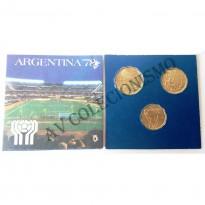 Fôlder com 3 Moedas - ARGENTINA - Campeonato Mundial de Futebol - 1978