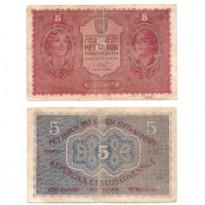 Cédula - Checoslováquia -1919 - 5 Korun